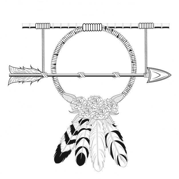 Удовольствие мечты arrow деревенский племенной стиль Premium векторы