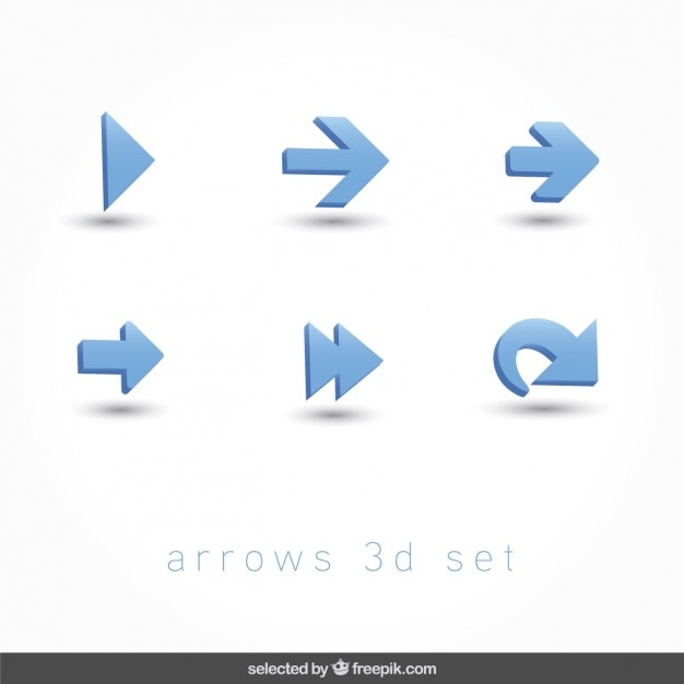 Arrows 3d icons set Free Vector