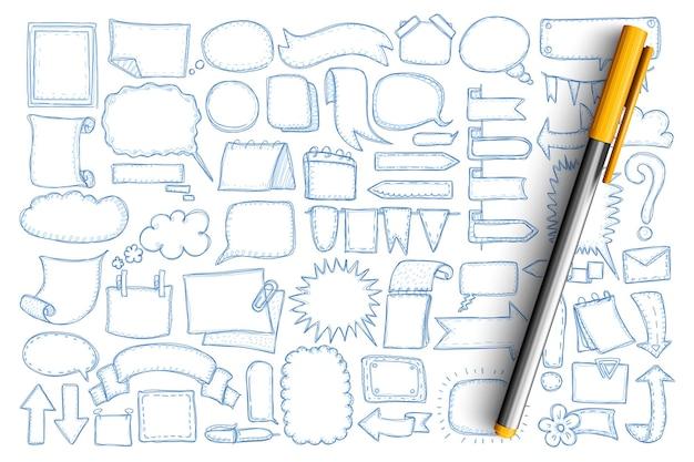 Стрелки и болваны болваны набор каракули. коллекция рисованной разных направлений стрелок, индикаторов, флагов, пузырей сообщений чата и пустых символов изолированы Premium векторы