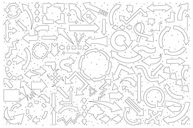 Arrows doodle set Premium Vector