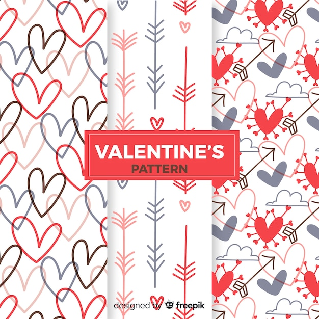 Arrows and hearts valentine pattern collection Free Vector