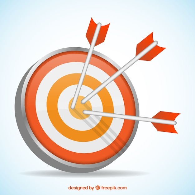 Arrows hitting the target Premium Vector