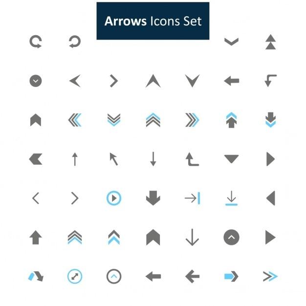 Arrows icon set Free Vector