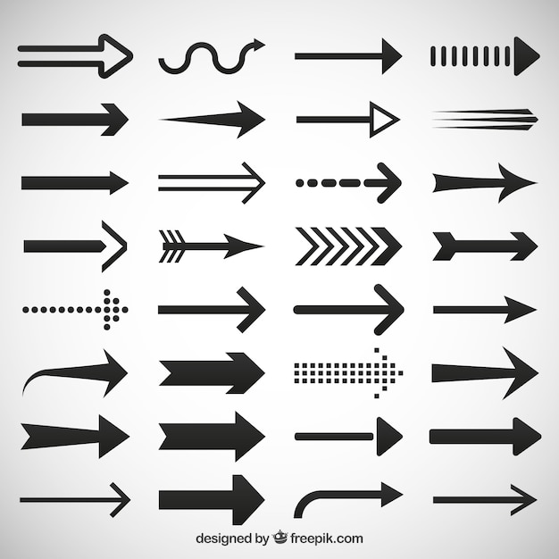 Arrows icons set Premium Vector