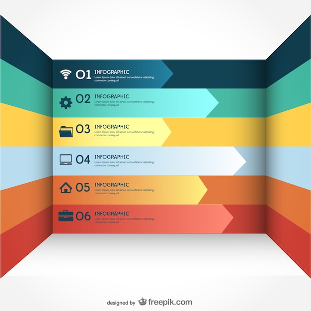 Arrows infogaphic in different colors Free Vector