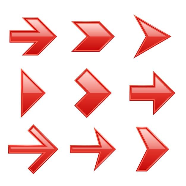 Arrows set. arrow icons down direction up pointer sign next right left cursor black web interface navigation flat, collection Premium Vector