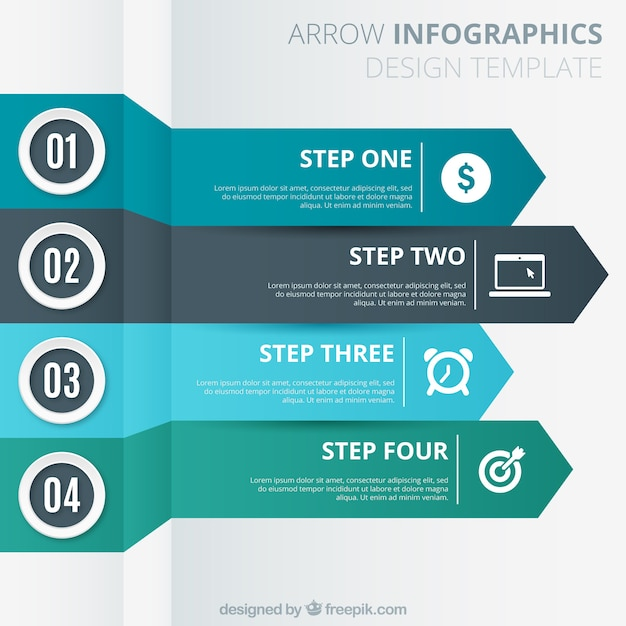 Arrows template for infography Free Vector