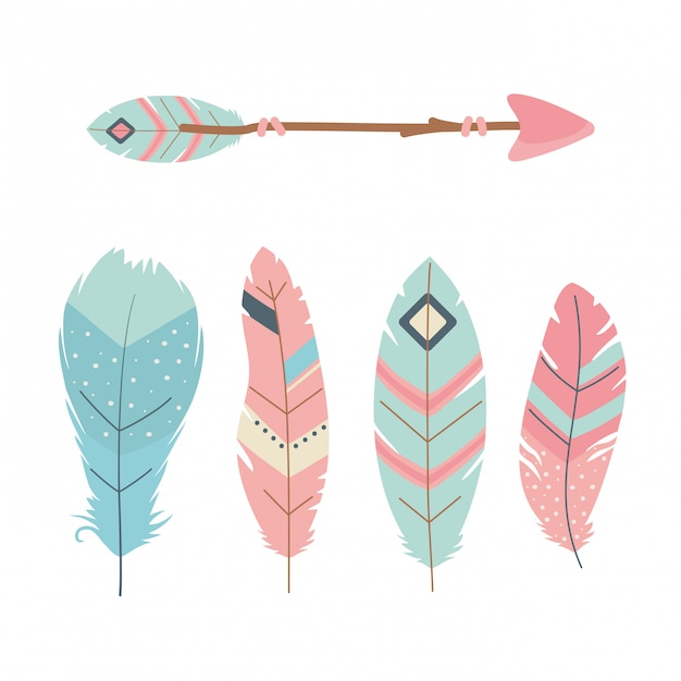 Arrows with feathers decoration boho style Premium Vector