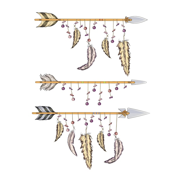 Premium Vector Arrows With Feathers Of Indians Collection For Hunting And War