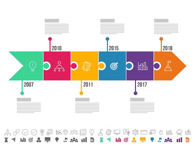 Arrows with six steps, timeline infographics layout with icons set