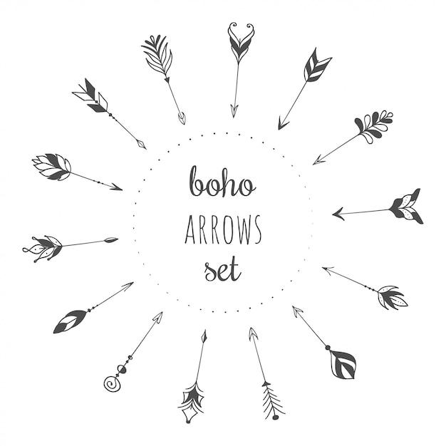自由arrows放に生きるスタイルで設定された手描きの矢印 Premiumベクター