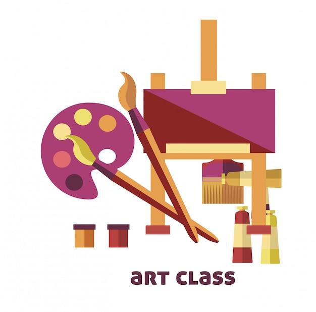 Art class equipment to create pictures promo poster Premium Vector