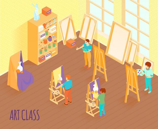 Art class isometric illustration Free Vector