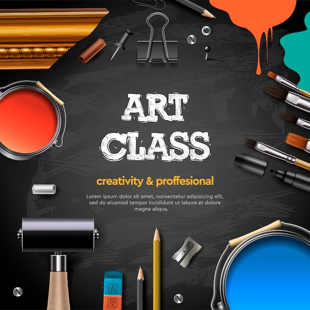 Art Class Studio Course School Education Banner Or Poster With Black Chalkboard Background Hand Drawn Letters Pencil Brush Paints Premium Vector