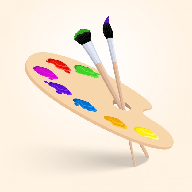 Art color palette with paintbrush drawing tools  isolated on white background vector illustration Free Vector