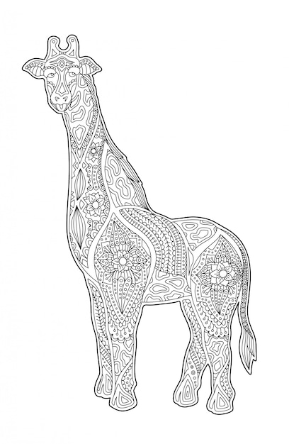 Art for coloring book page with cartoon giraffe Premium Vector