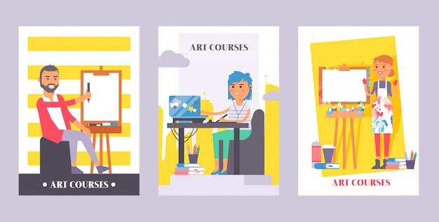 Art courses set of posters. man painting on canvas. girl sitting in front of laptop listening in earphones to online Premium Vector