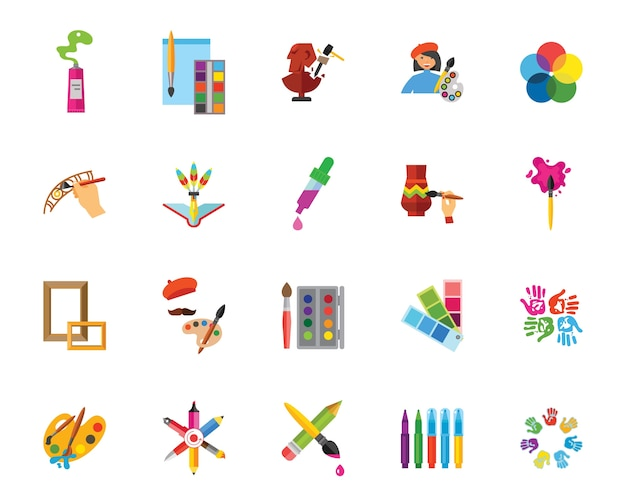 Art And Craft Icon Set Vector Free Download