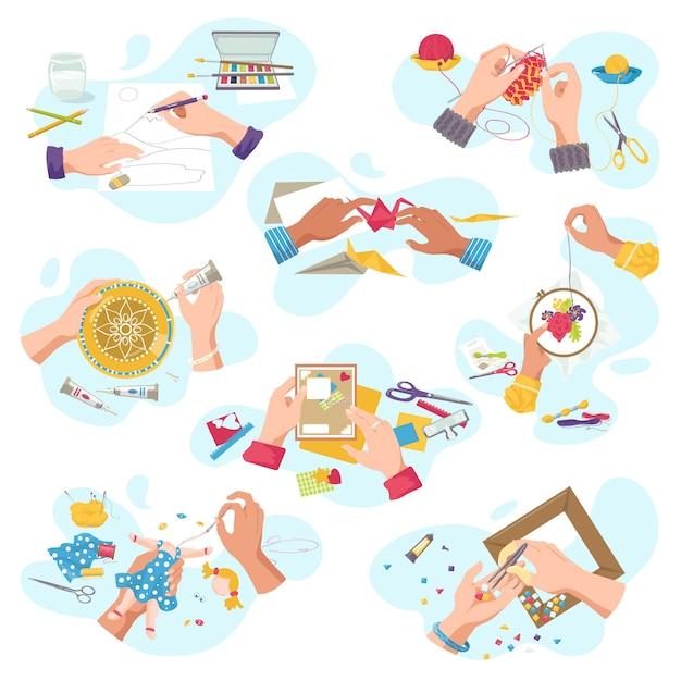 創造的な趣味のためのアートクラフトワークショップ、平面図職人の手は、白いイラストセットの芸術的な手工芸品を作成します。裁断、塗装、編み物、刺繍、アップリケ、のこぎり。 Premiumベクター