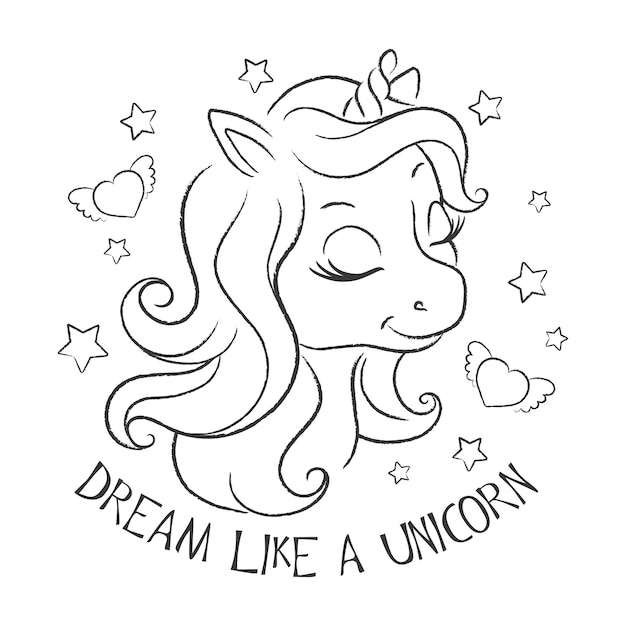 Premium Vector Art. Cute Unicorn. Coloring Pages. Fashion Illustration  Print In Modern Style For Clothes Or Fabrics And Books. Dream Like A Unicorn .