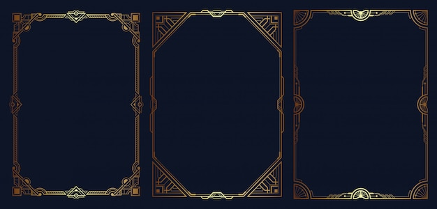 Premium Vector Art Deco Border And Frame Set Template Free art deco border templates including printable border paper and clip art versions. https www freepik com profile preagreement getstarted 6937072