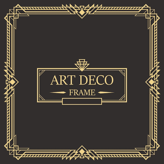 Art deco border and frame template. Premium Vector