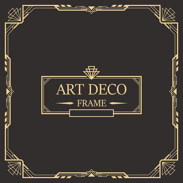 Art deco border and frame template. Premium Vector