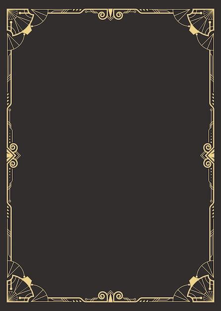 Art deco border template Premium Vector