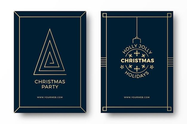 Art deco christmas party cards Free Vector