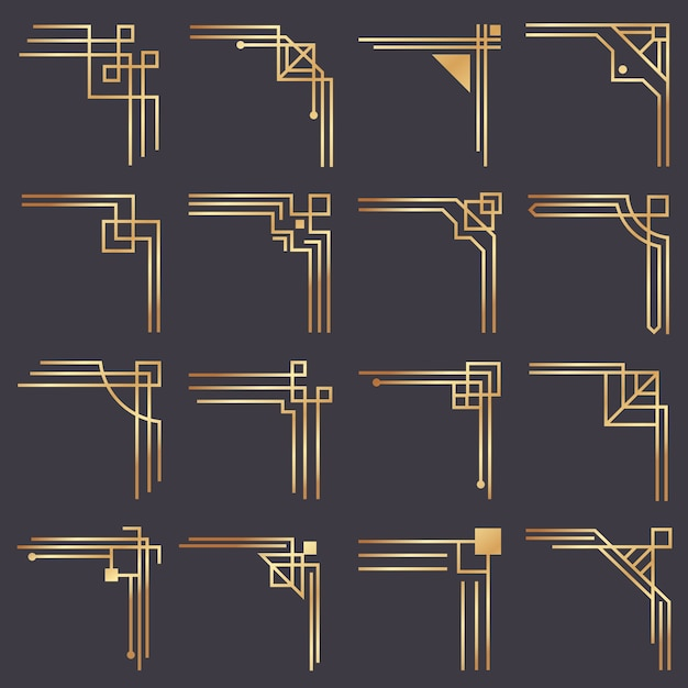 art nouveau decor.htm art deco corner modern graphic corners for vintage gold pattern  art deco corner modern graphic corners