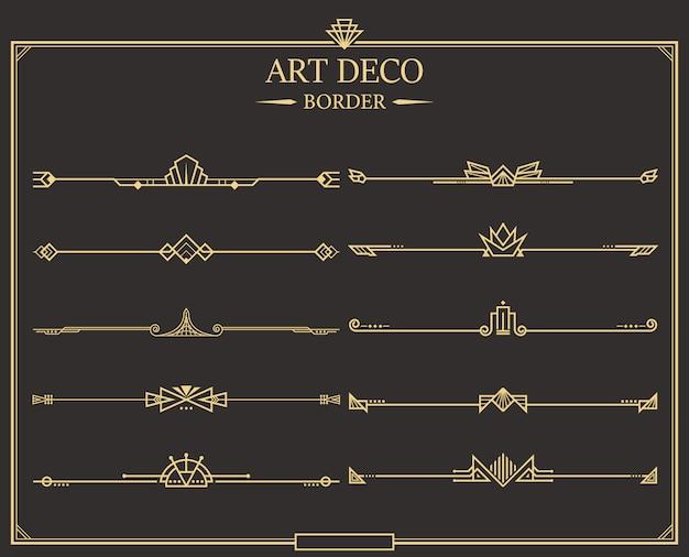 Art deco divider collection Premium Vector