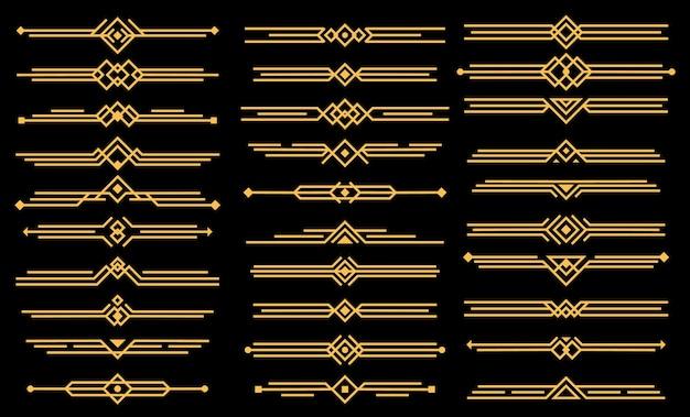 Разделители или заголовки элементов ар-деко. геометрический викторианский стиль, элегантный винтажный дизайн, набор иконок Premium векторы