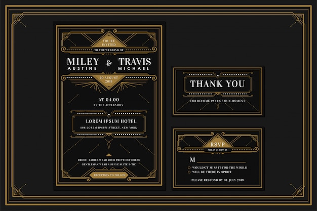 Art Deco Engagement Wedding Invitation Card Template With Gold