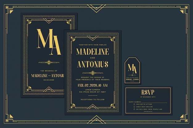 Art deco engagement / wedding invitation card template with gold color with frame. classic navy premium vintage style. include thank you tags and rsvp Premium Vector