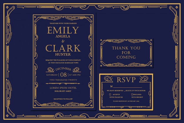 Art deco engagement / wedding invitation navy with gold color with frame. classic navy premium vintage style. include thank you tags and rsvp Premium Vector