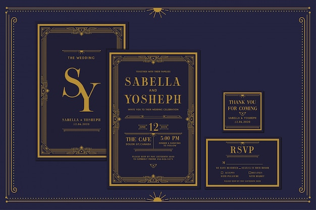 Art deco engagement / wedding invitation with gold color with frame. classic navy premium vintage style. include thank you tags and rsvp. Premium Vector