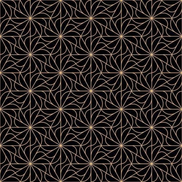 Art deco flowers seamless pattern design Premium Vector