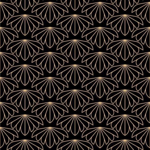 Art deco flowers seamless pattern Premium Vector