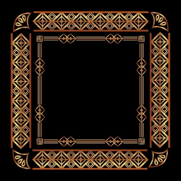 Art deco frame geometric abstract decorative Premium Vector