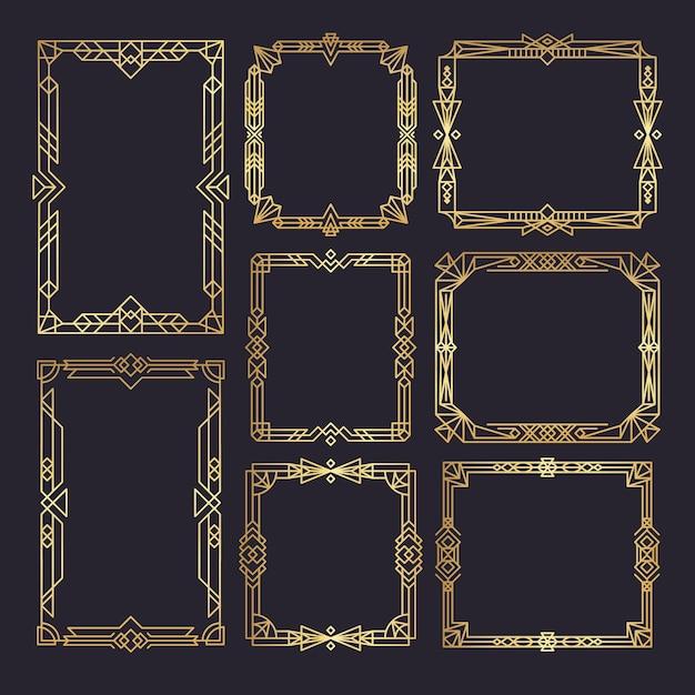아트 데코 프레임. 웨딩 프레임 템플릿 1920 년대 장식 스타일 황금 테두리 소용돌이 빈티지 프리미엄 벡터
