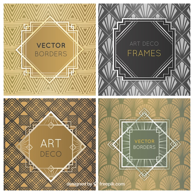 art deco frames free vector