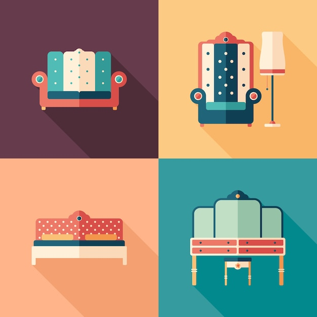 Art deco furniture flat square icons with long shadows. Premium Vector