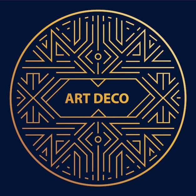 Art deco linear circle, round border, frame. Premium Vector