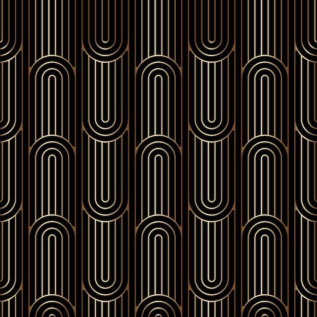 아트 데코 선형 패턴, 원활한 황금 배경 프리미엄 벡터