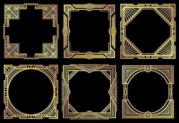 Art deco nouveau border frames in 1920s style Premium Vector