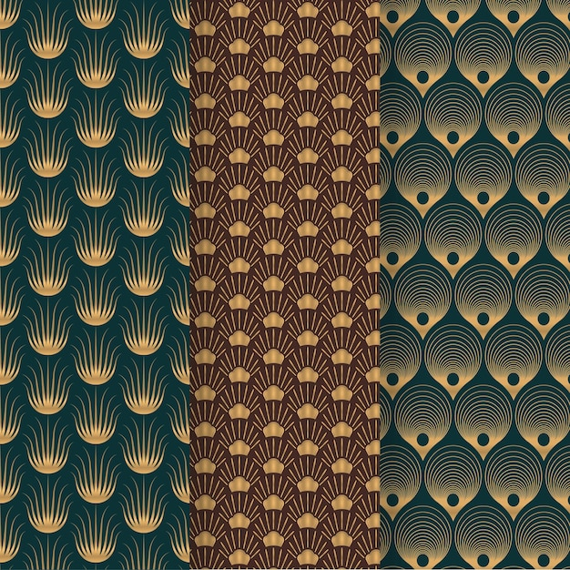 Art deco pattern collection Free Vector