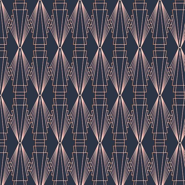 Art deco pattern in dark colours Premium Vector