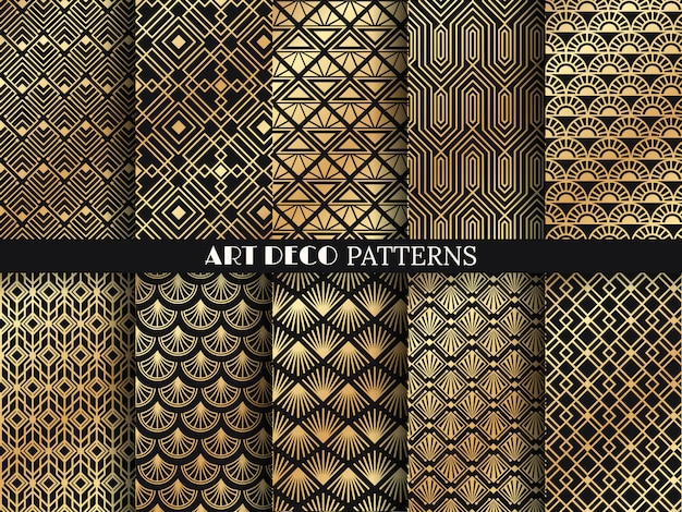 Art deco pattern. golden minimalism lines, vintage geometric arts and deco line ornate seamless patterns  set Premium Vector