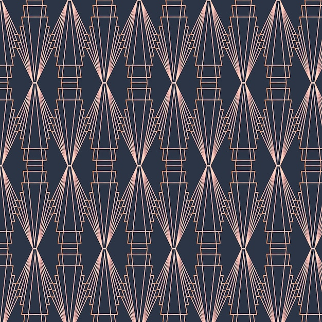 어두운 색상의 아트 데코 패턴 프리미엄 벡터