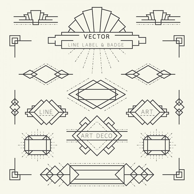 Art deco style linear geometric labels and badges monochrome, graphic elements Premium Vector